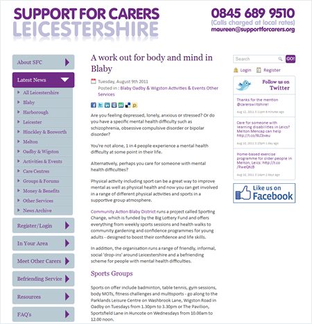 Support for Carers website news