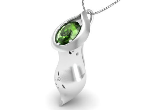 Nepenthes silver pendant with peridot stone copyright Opulent Ethics