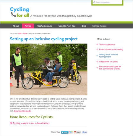 Cycling for All advice pages