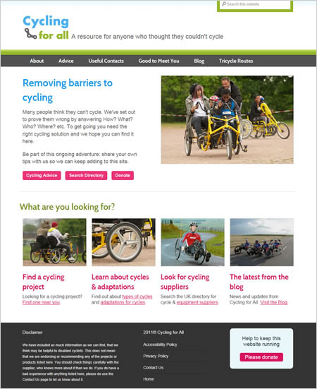 Cycling for All website home page