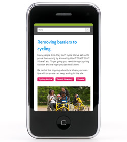 Cycling for All on smart phone screen