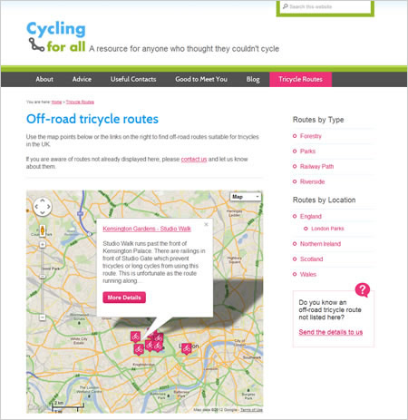 Cycling for All website tricycle routes