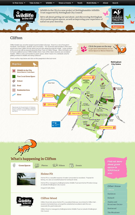 Wildlife in the City website maps