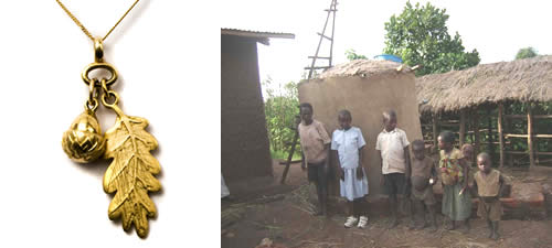 Acorn Pendant and the Entebbe water tower - Fifi Bijoux