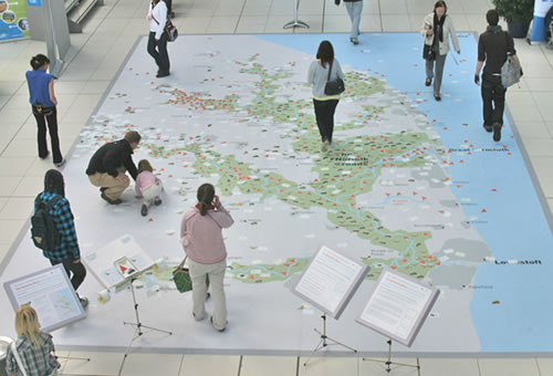 Map at the Creative Data project in Norfolk