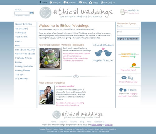 Ethical Weddings website