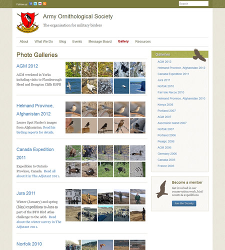 Army Ornithological Society website gallery