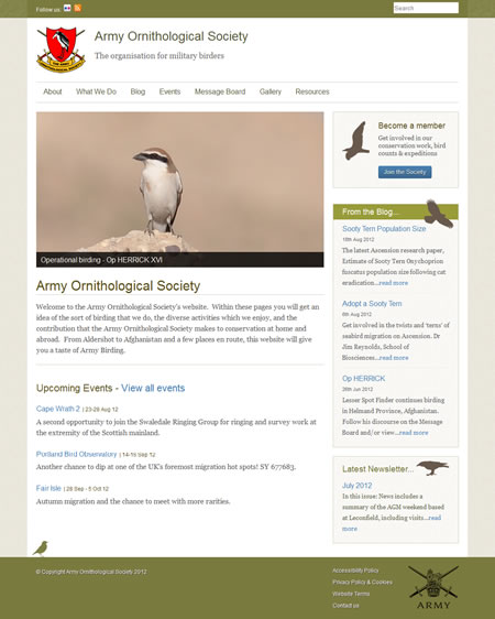 Army Ornithological Society website
