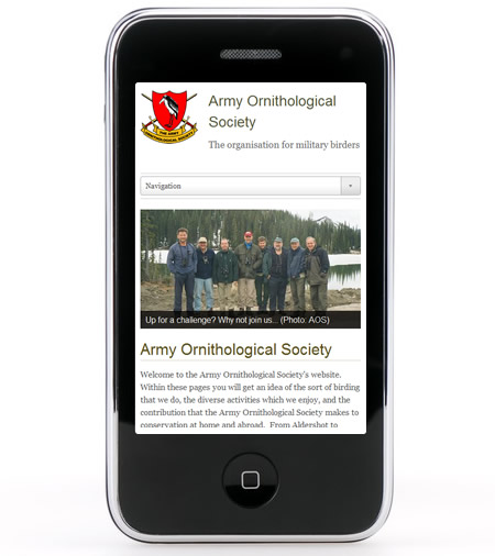 Army Ornithological Society responsive website