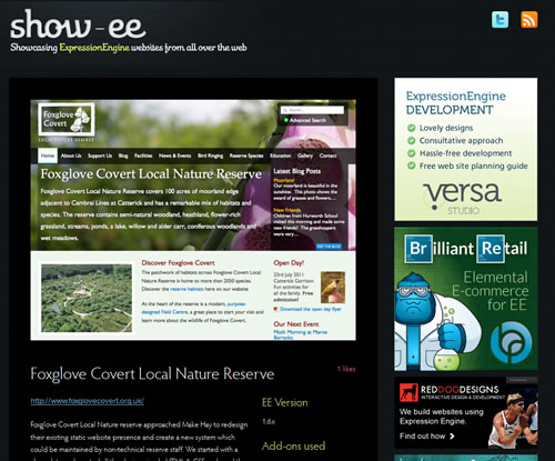 Screenshot of the Foxglove Covert website in the Show-ee gallery