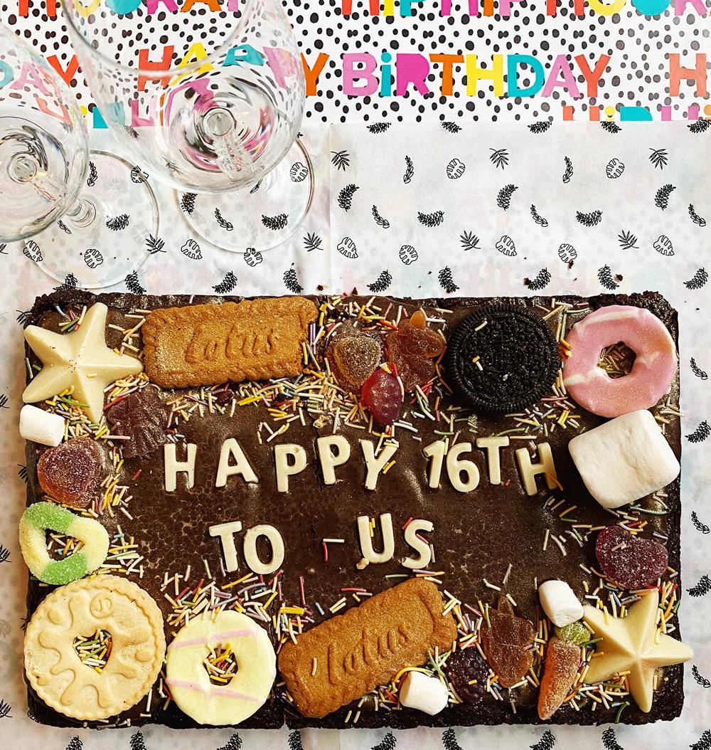 Birthday cake and champagne glasses
