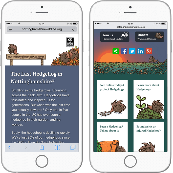 Nottinghamshire Wildlife Trust hedgehog website mobile view