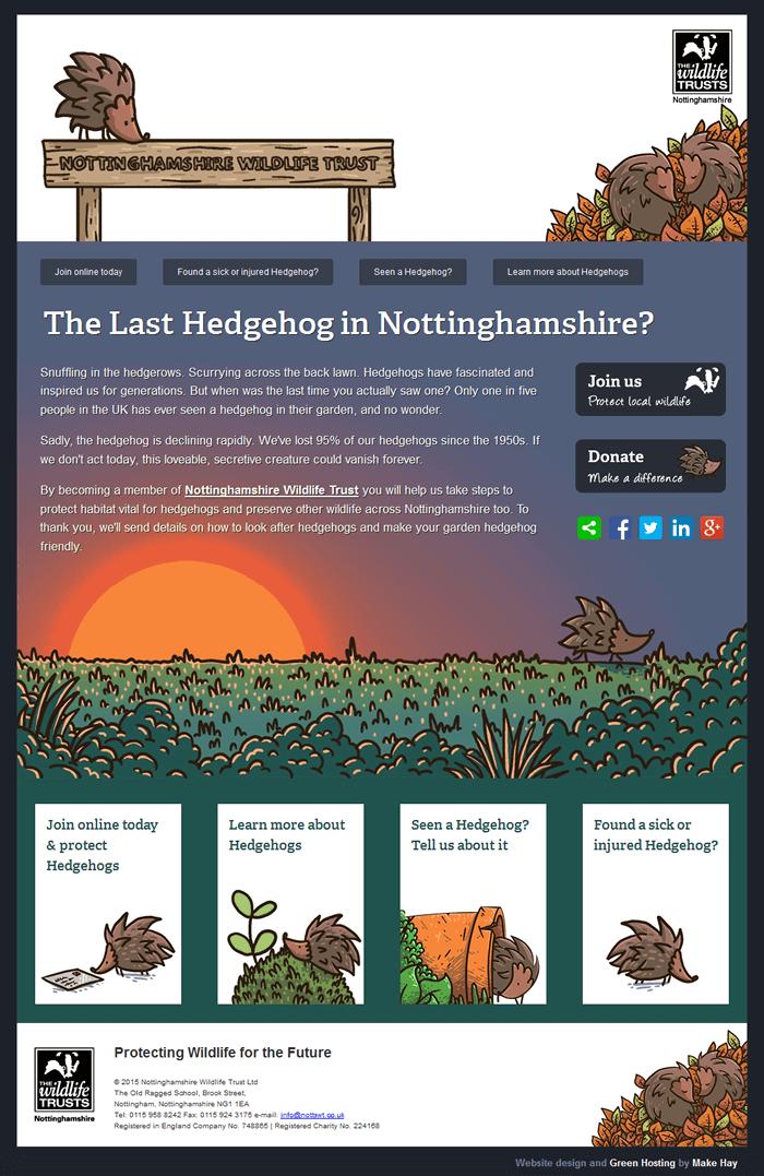 Nottinghamshire Wildlife Trust hedgehog campaign web page