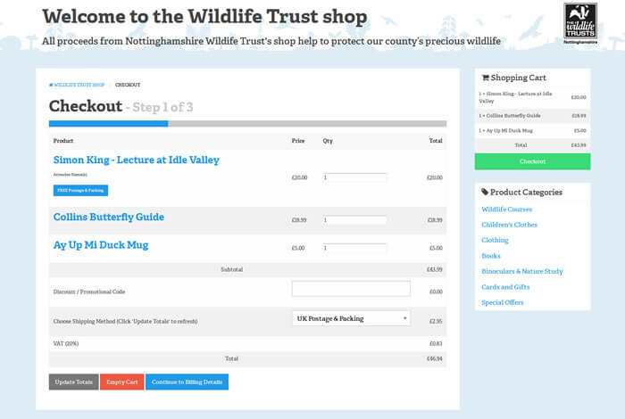 Wildlife Trust shop checkout