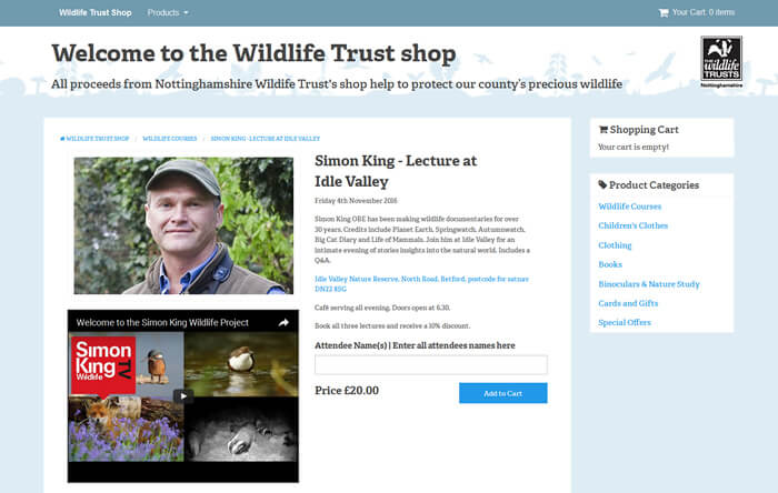 Courses in the Wildlife Trust Shop