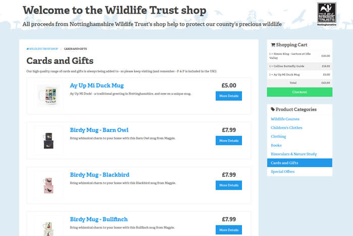 Categories in the Wildlife Trust shop