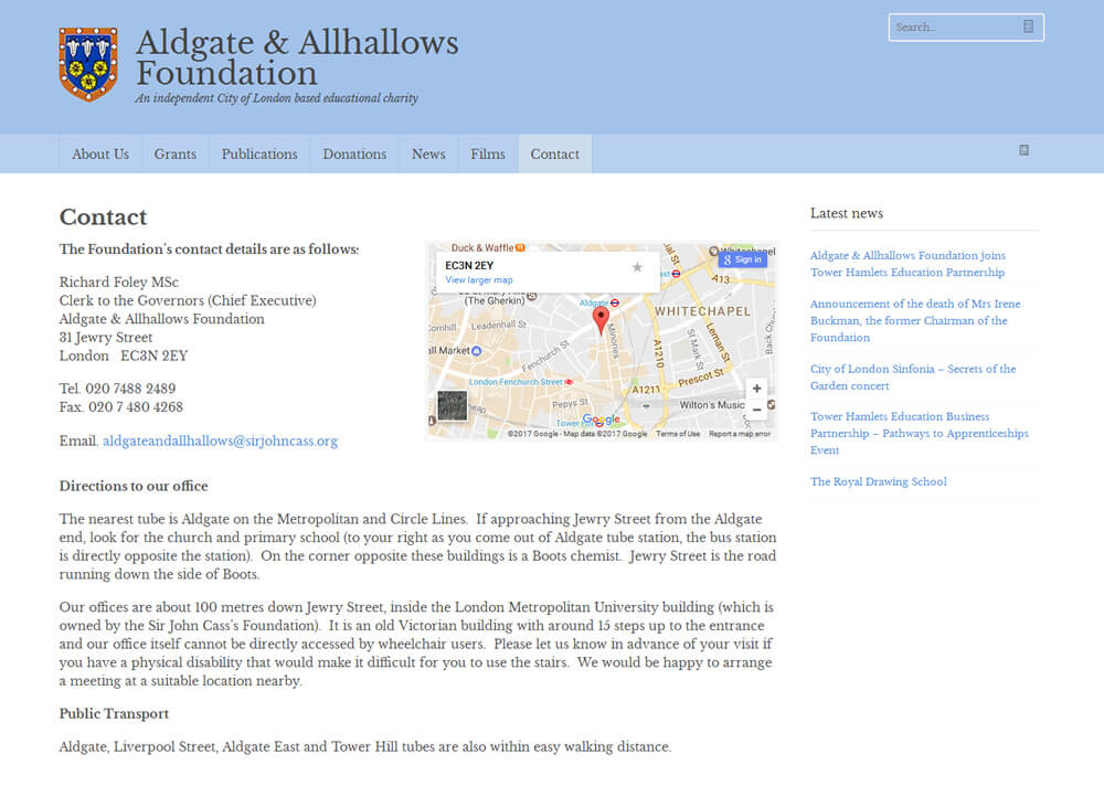 Aldgate & Allhallows Foundation Contact Page