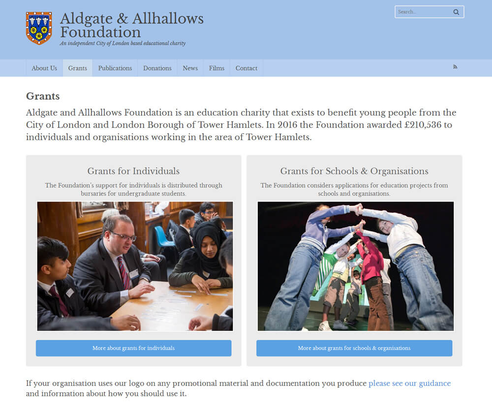 Aldgate & Allhallows Foundation Grants Index Page