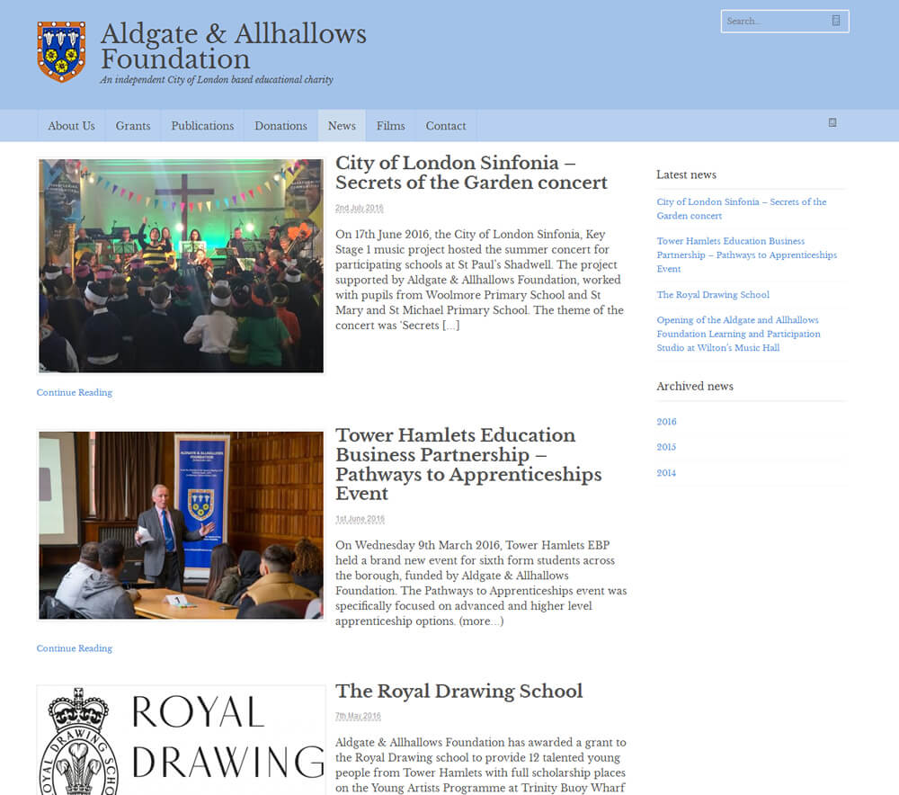 Aldgate & Allhallows Foundation News Archive