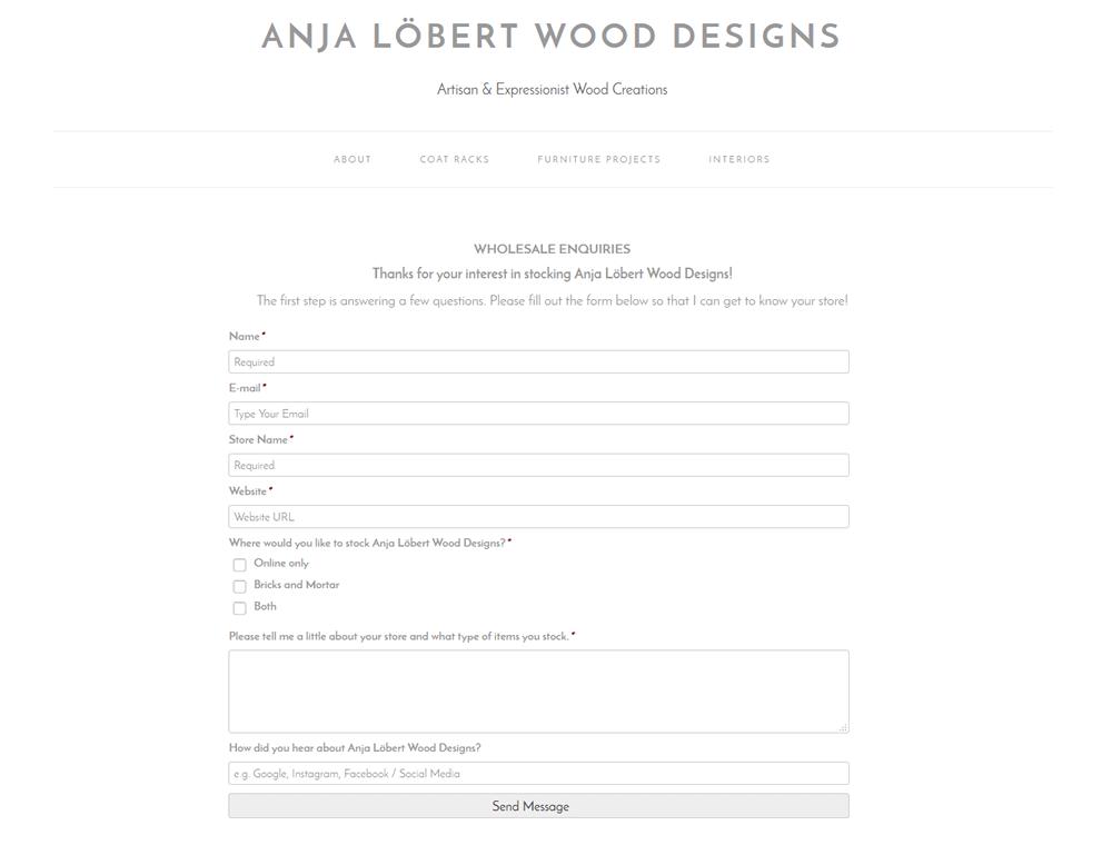 Anja Lobert Wood Designs Wholesale enquiry form