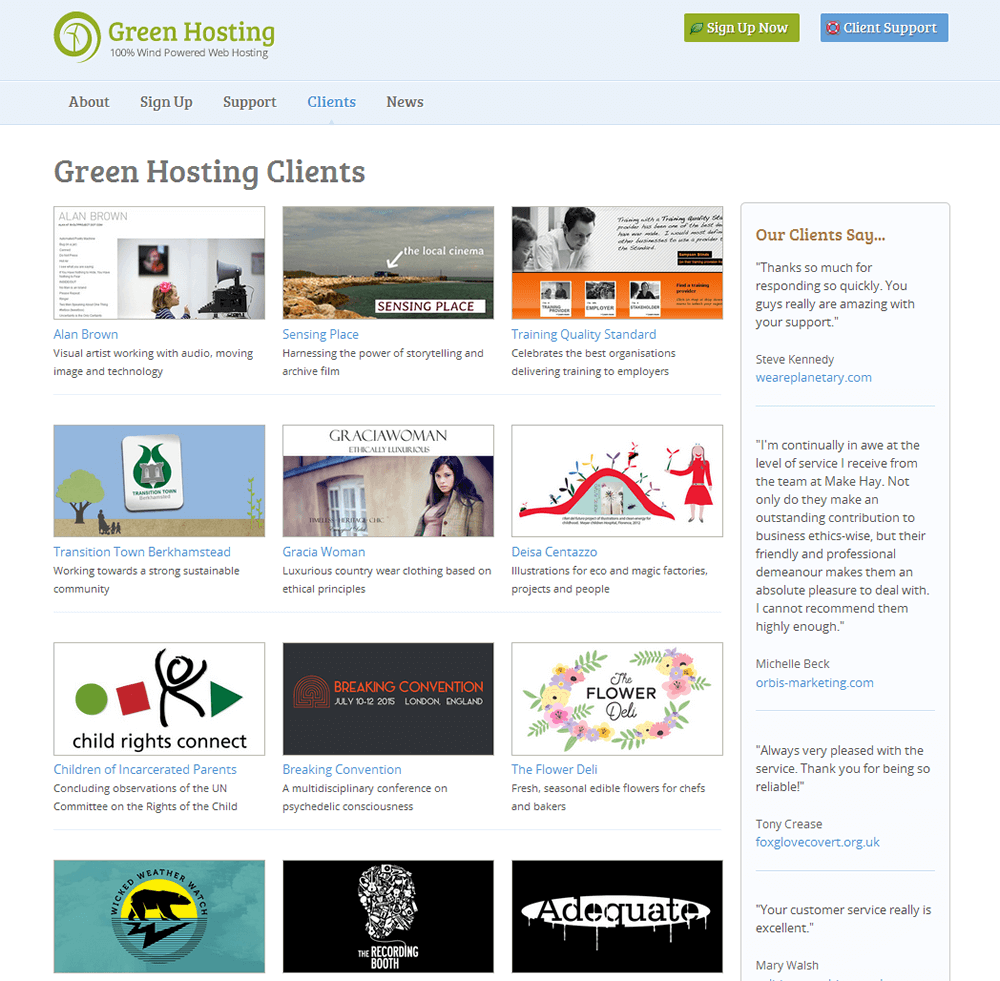 Green Hosting Green Hosting clients