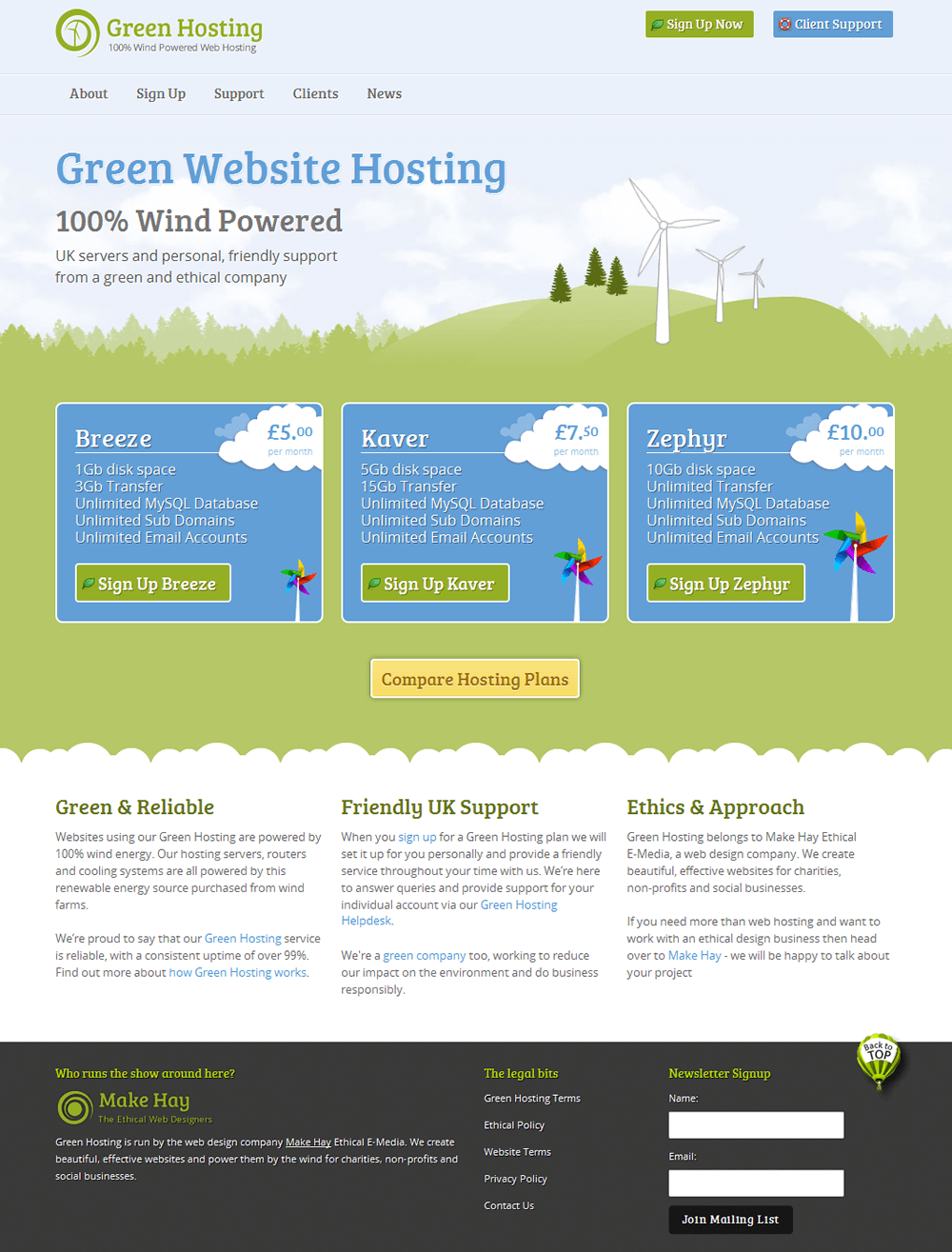 Green Hosting Green Hosting home page