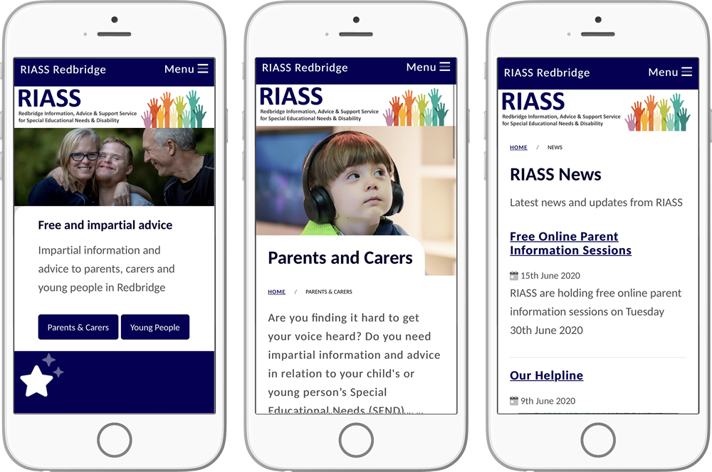 Views of the RIASS website on mobile screens