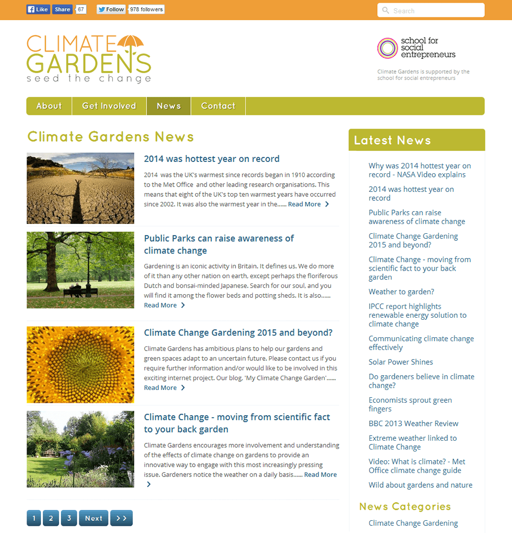 Climate Gardens A busy news section with archives and categories