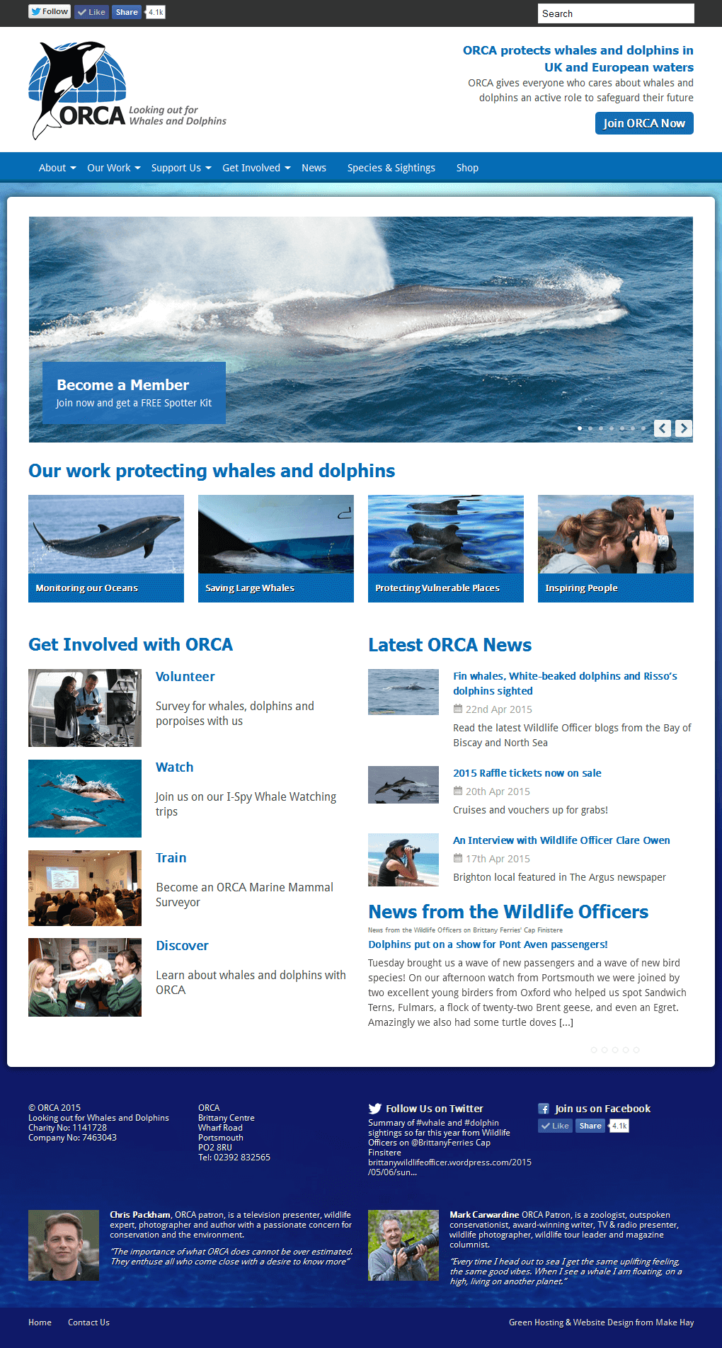 ORCA - Protecting Whales and Dolphins ORCA home page