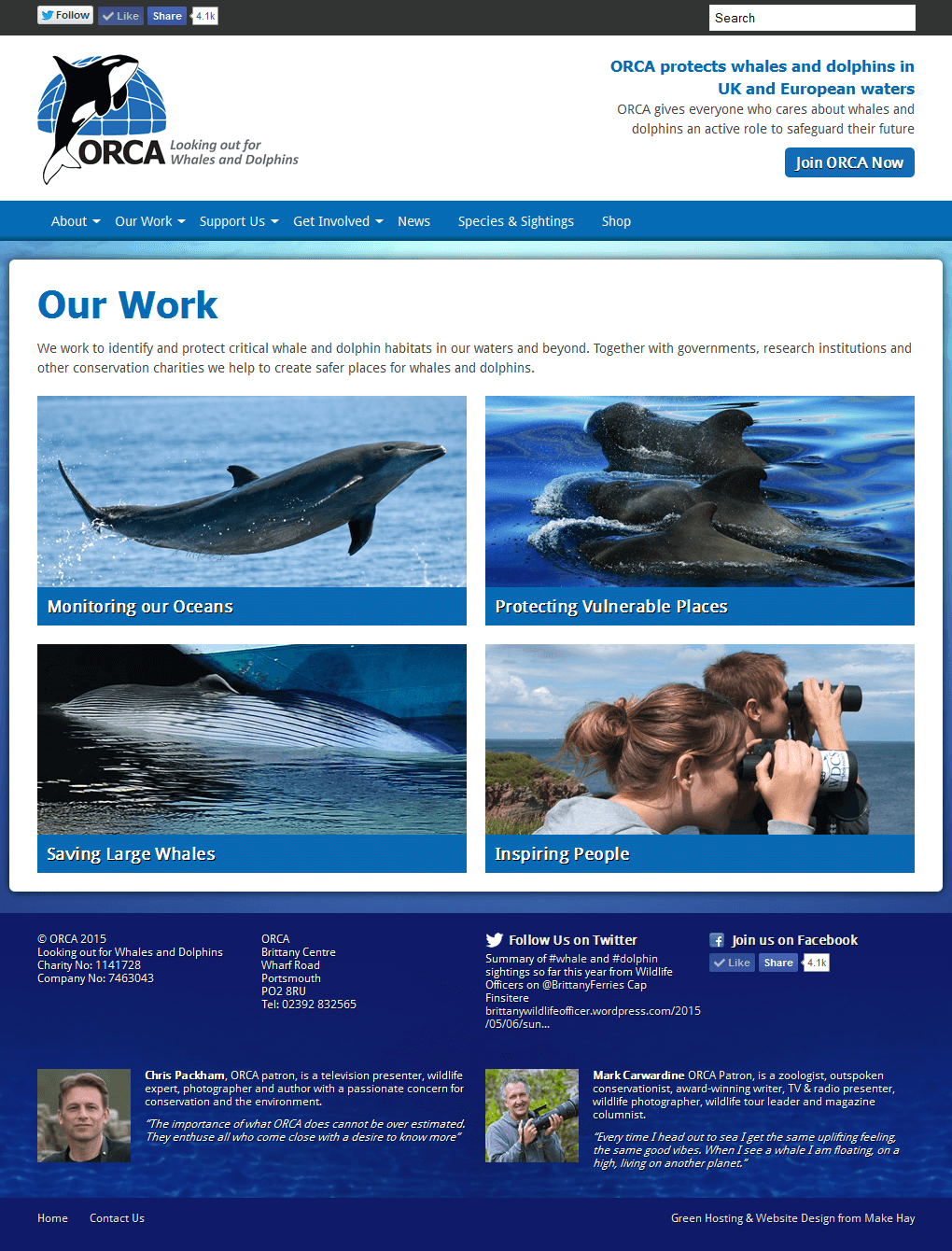 ORCA - Protecting Whales and Dolphins The index for ORCA's Work section