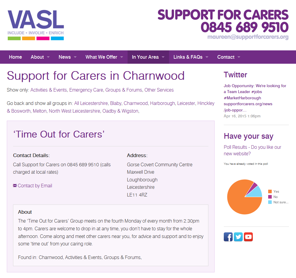 Support for Carers An extensive directory of support organisations