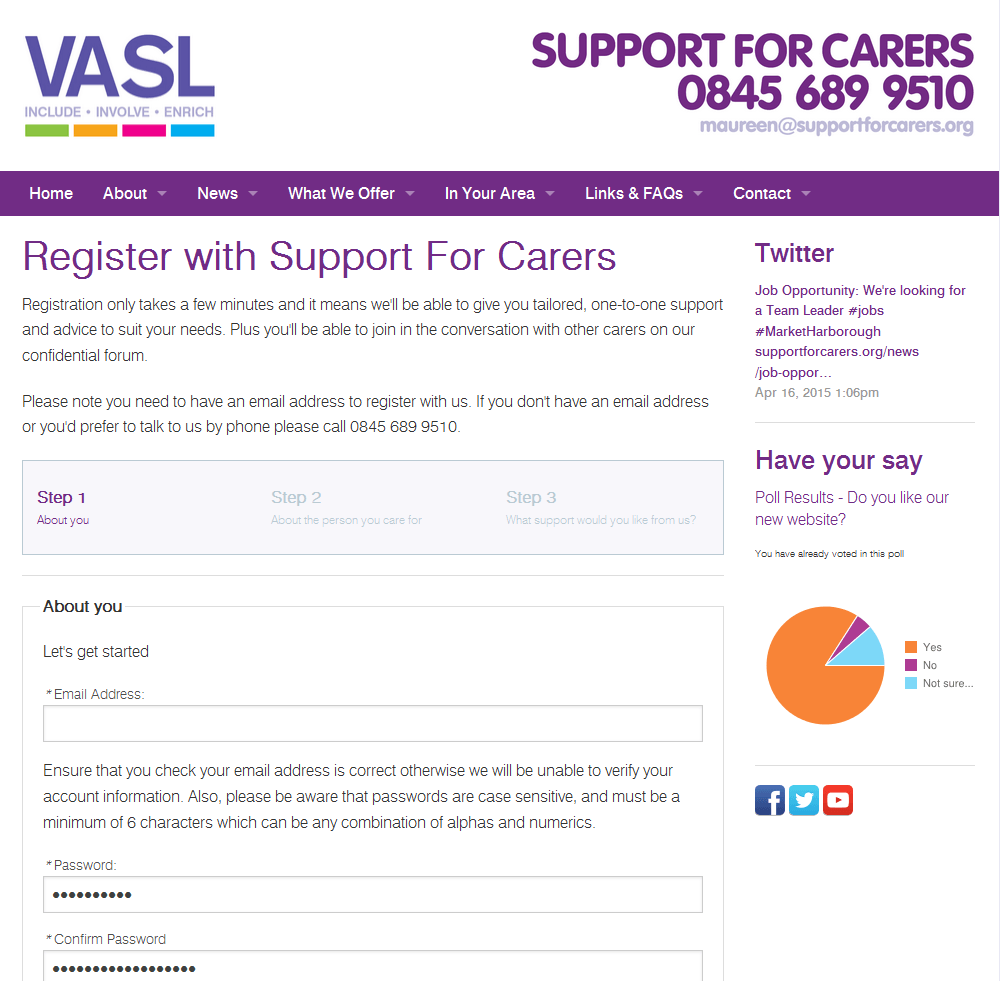 Support for Carers Online registration with Support for Carers