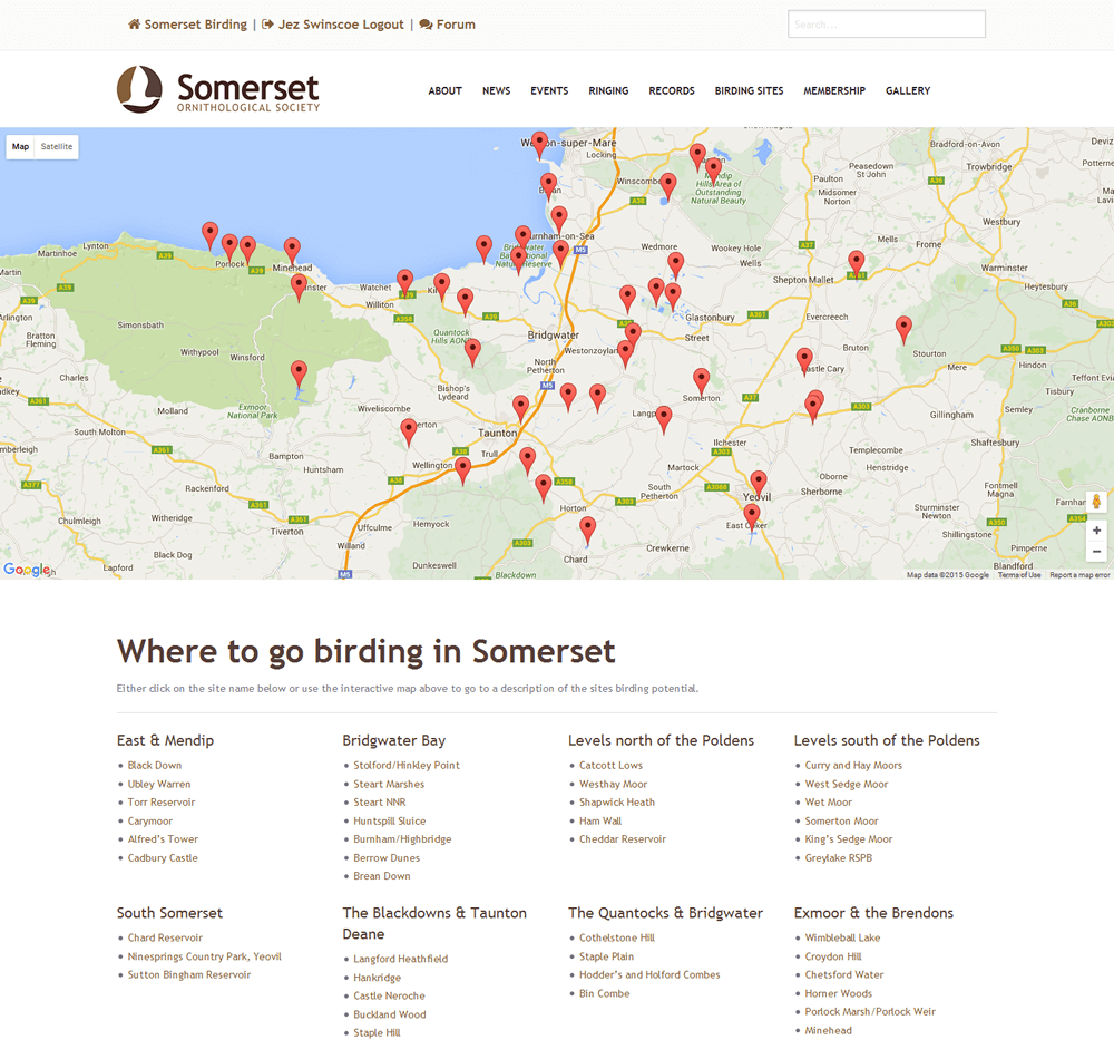 Somerset Ornithological Society Clickable Google map of birding sites
